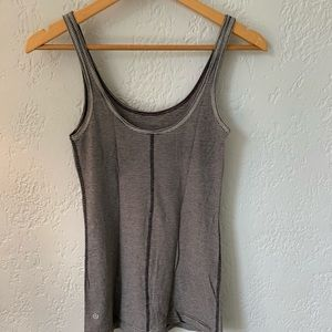 Lululemon Size 4 Grey/White Stripe Tank